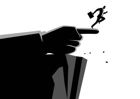 Business concept illustration of a giant hand pointing to the wrong way to a businessman Ilustrace