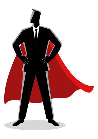 Business concept illustration of a businessman as a superhero