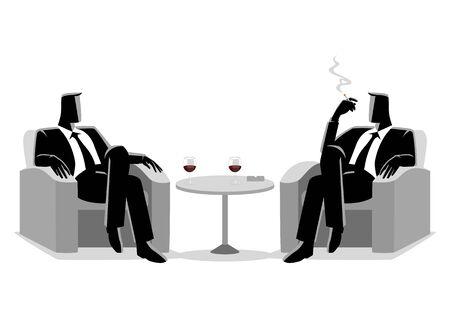 Business illustration of two businessmen sitting on sofa