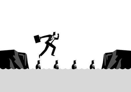 Business concept illustration of a businessman using his friends as stepping stones Stock fotó - 98925911