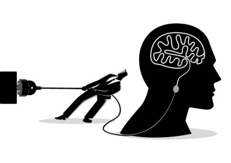 Business concept illustration of a businessman trying to unplug the brain, sabotage, killing creativity concept