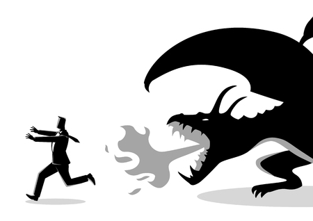 Business concept vector illustration of a businessman running away from a dragon. Risk, fear of challenges in business concept Ilustrace