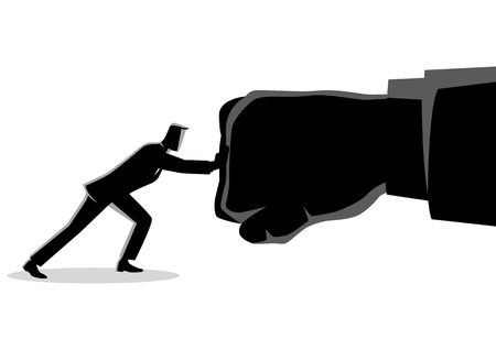 Business concept vector illustration of a businessman holding a giant punching hand