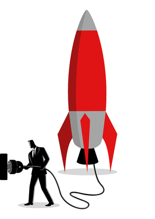 Business concept vector illustration of a businessman plugging in a rocket, ready for launching