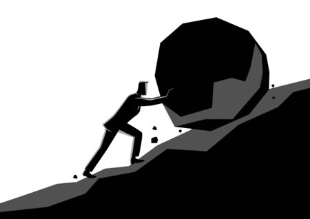 Business concept illustration of a businessman pushing large stone uphill Stock Illustratie