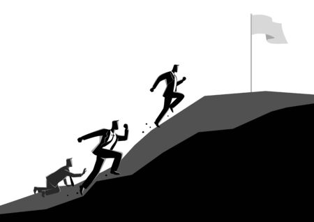 Business concept illustration of businessmen racing uphill to seize the flag, competition concept Illustration