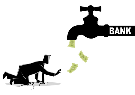 Business concept vector illustration of an exhausted businessman approaching a water tap flows with bank notes