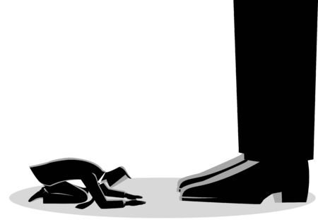 Business concept illustration of a businessman kneel down under giant feet. Concept for authority, dictator figure Illustration