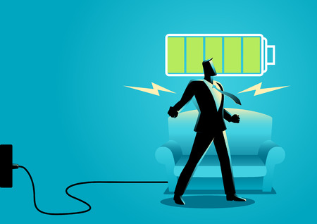 Business concept illustration of a businessman after getting restful sleep and waking up energized 向量圖像