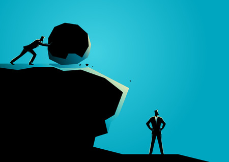 Ilustración del concepto de negocio de un empresario tratando de eliminar a otro empresario con gran roca Ilustración de vector