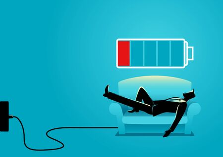 Business illustration of a businessman taking a nap on sofa. Laying, relaxing, recharge, resting concept Illustration