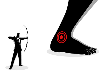 Business concept vector illustration of businessman as an archer aiming giant feet's heel, idiom for Achilles' heel, a weak point or fault in someone or something otherwise perfect or excellent. Vetores