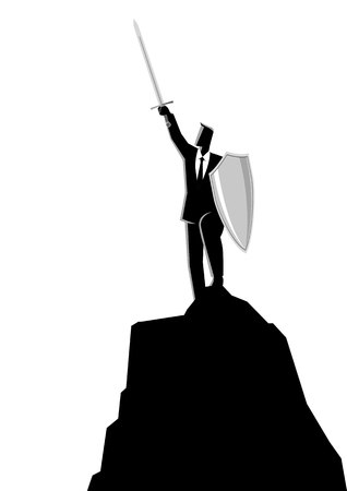 Business concept vector illustration of a businessman raising a sword and shield on top of rock, victory, protection, leadership in business concept
