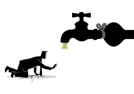 Geschäftskonzeptvektorillustration eines erschöpften Geschäftsmannes, der sich einem gebundenen Wasserhahn nähert.