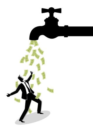 Business concept vector illustration of a businessman standing under water tap flows with banknotes Ilustração