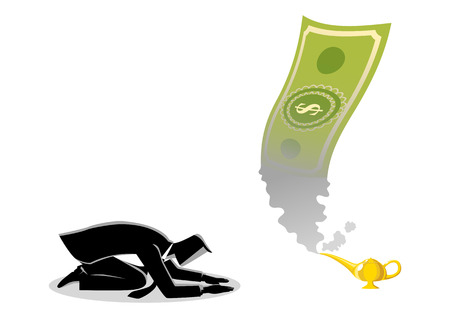 Business concept vector illustration of a businessman worshiping money that appearing from magic lamp Ilustração