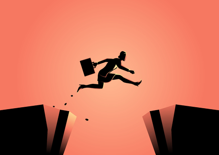 Silhouette illustration of a businesswoman jumps over the ravine. Challenge, obstacle, optimism, determination in business concept