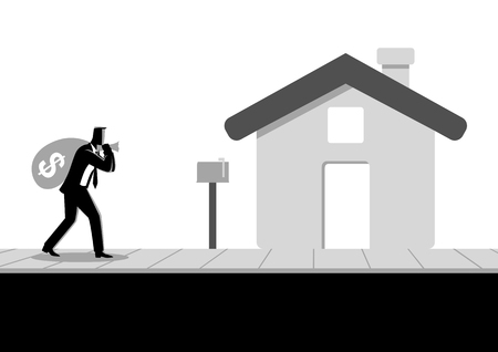 Business concept vector illustration of a businessman carried a money bag on his shoulder to his home, bring home the bacon, bonus, earn, profit concept