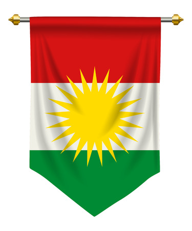 Kurdistan flag or pennant isolated on white