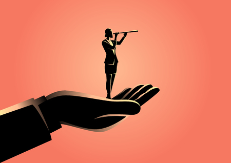 Business concept illustration of a hand holding a businesswoman using telescope Illustration