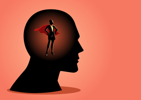 Business concept vector illustration of a superwoman inside man's head, being controlled concept