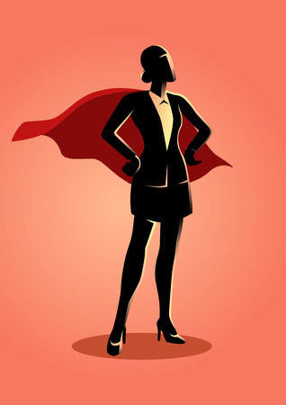Business concept illustration of a super businesswoman