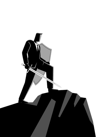Business concept vector illustration of an optimistic businessman holding a sword and shield standing on top of a mountain, preparation, protection, precaution in business concept