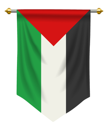 Palestine flag or pennant isolated on white