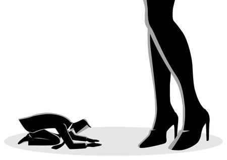 Ilustración de vector de concepto de negocio de un empresario postrado bajo pie femenino