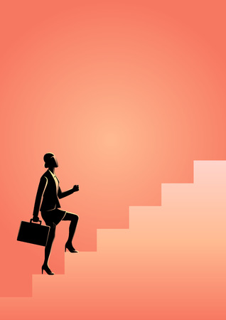 Business concept vector illustration of a businesswoman stepping on stairs