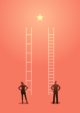 Business vector illustration of unfair competition between businesswoman and businessman, inequality or privilage in business concept 矢量图像