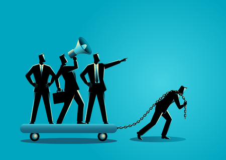 Business concept vector illustration of a businessman dragging his bossy coworkers alone Stock Illustratie