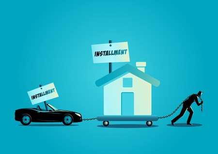 Business concept vector illustration of a businessman dragging a house and a convertible car. Financial problem, burden, pressure, debt, installment concept