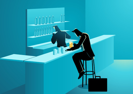 Business concept illustration of a businessman having drinks in a bar