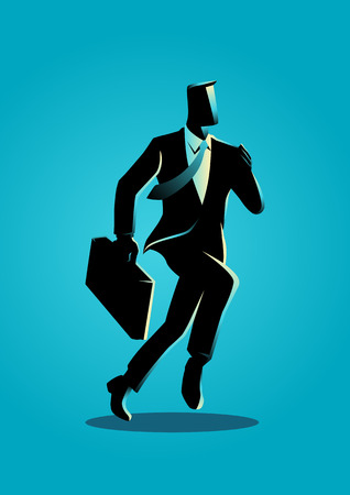 Business illustration of a businessman running with briefcase, business, energetic, dynamic concept