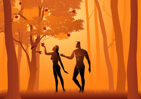 Illustrazione vettoriale biblica di Adamo ed Eva, un serpente induce Eva a mangiare la frutta dell'albero proibito Vettoriali