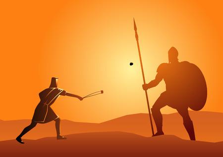 Bijbelse vectorillustratie van David en Goliath Vector Illustratie