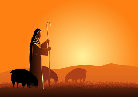 Biblical vector illustration of Jesus as a shepherd 일러스트