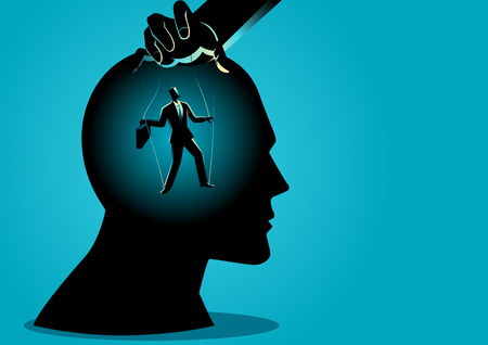 Ilustración de vector de concepto de negocio de un maestro de marionetas controla la mente Foto de archivo - 103996423