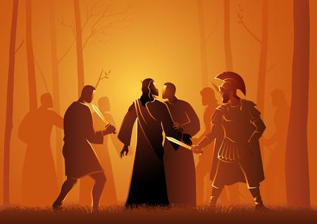 Biblische Vektorillustrationsserie, Jesuskuss durch Judas im Garten von Gethsemane