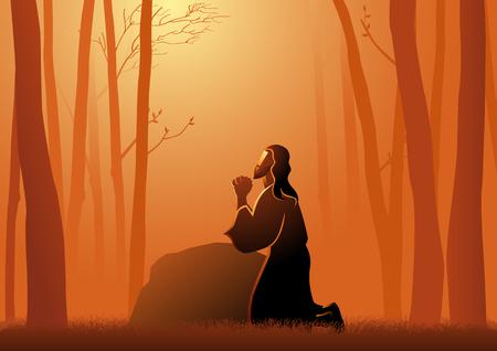 Ilustración vectorial bíblica de Jesús rezando en Getsemaní
