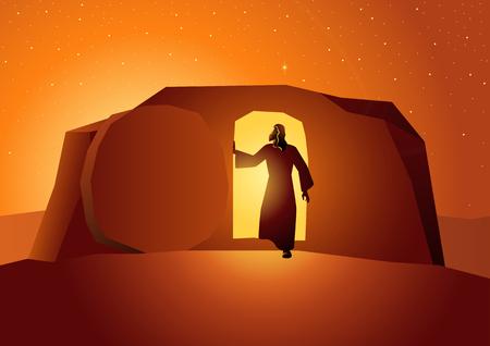 Serie de ilustraciones vectoriales bíblicas, la resurrección de Jesús o la resurrección de Cristo Ilustración de vector