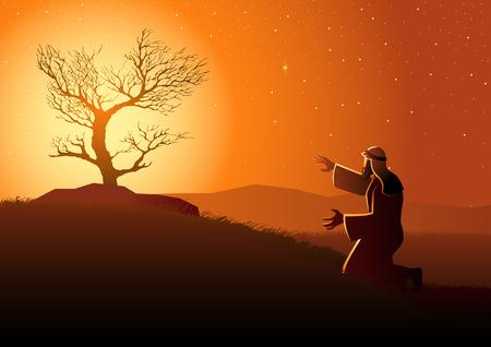 Serie de ilustraciones vectoriales bíblicas, Moisés y la zarza ardiente Ilustración de vector
