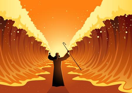 Biblijna i religijna seria ilustracji wektorowych, Mojżesz wyciągnął laskę i Morze Czerwone zostało rozdzielone przez Boga