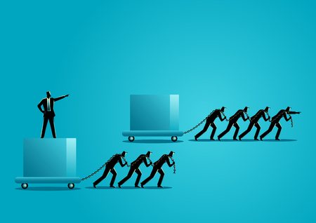 Business concept illustration of businessmen dragging a big box, leading the race against slower group. Winning strategy, efficiency, the difference between leader and boss.