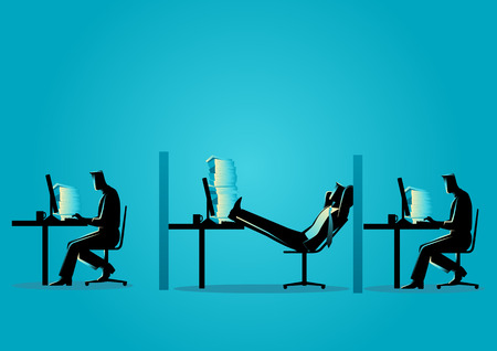 Business concept vector illustration of a businessman relaxing while his friends working