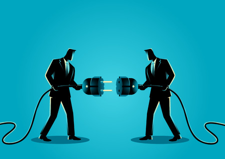 Business concept vector illustration of two businessmen holding a plug and outlet. Illustration