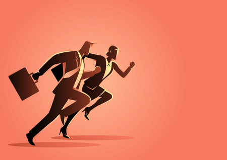 Business concept vector illustration of businessman and businesswoman running