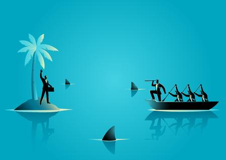 Business concept vectorillustratie van een zakenman vast komen te zitten op het eiland met water vol haaien, en zakenlieden op de boot die hem proberen te redden Vector Illustratie
