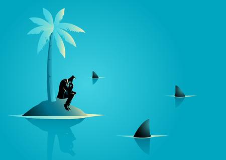 Business concept vectorillustratie van een zakenman vast komen te zitten op het eiland met water vol haaien, zaken, financiële crisis, frustratie, schipbreukeling concept